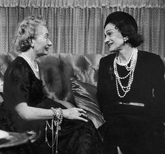 January 1953    Harper's Bazaar's Mrs. Carmel Snow (L) chatting with Gabrielle Chanel  (R).