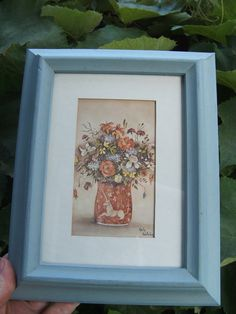 Vintage Framed Still Life with Unicorn Vase by lookonmytreasures on Etsy