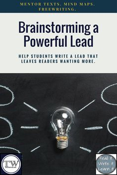 Brainstorm a Strong Lead- lesson activity Expository Writing, Memoir Writing, Article Writing, Teaching Writing, Teaching Resources, Teaching Ideas, High School Classroom, Middle School Teachers, 8th Grade Ela