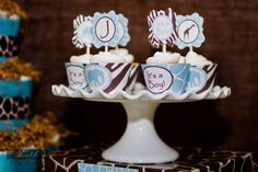Safari Baby Shower Blue and Brown Boy Baby by LillianHopeDesigns