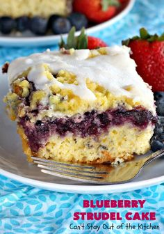 Tasty cake uses a yellow cake mix and yeast for the crust layer. It's topped with blueberry pie filling, streusel, and then glazed with an almond powdered sugar icing. Great as a holiday breakfast coffeecake or as a dessert. Blueberry Breakfast, Blueberry Pancakes, Breakfast Cake, Blueberry Strudel, Powdered Sugar Icing, Canned Blueberries, B Recipe, Streusel Topping, Yellow Cake Mixes