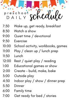 at home preschool schedule