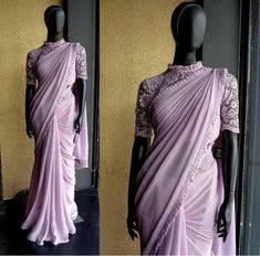 Lilac affair Saree in georgette with frill detailing 10 December 2016 prefer sapphire blue Saree Blouse Patterns, Sari Blouse Designs, Fancy Blouse Designs, Designer Blouse Patterns, Blouse Back Neck Designs, Stylish Blouse Design, Saree Trends, Stylish Sarees, Blouse Models