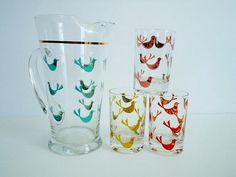 Vintage Turquoise Glass Water Pitcher Set by SwirlingOrange11, $62.00