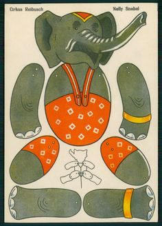 Art Paper Doll Cut Out Elephant Circus Schuburg Original Old c1940s Postcard   eBay