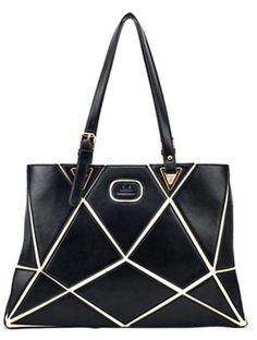 Black Geometric Zipper PU Shoulder Bag