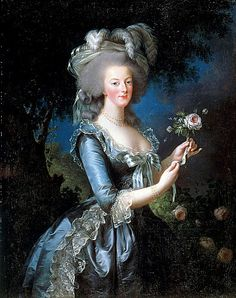 RIEN À VOIR AVEC LA SOUPE COPPOLA OU LES DÉGOULINADES THEYSKENS Portrait of Marie-Antoinette with rose painted by the painter Elisabeth Vigee-Lebrun in 1783.