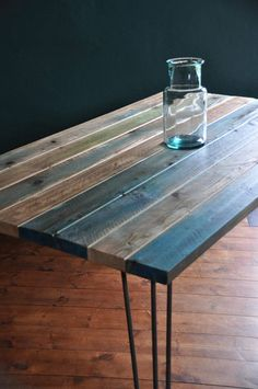 Dining Table Industrial Reclaimed Wood Rustic Hairpin legs