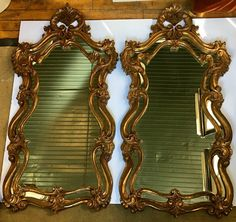 Pair of Rococo Style Gilt Wall Mirrors | 1stdibs.com