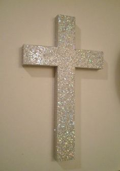 SILVER GLITTER Wall Cross Decorative Super by LaurieBCreations