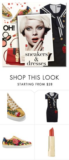 """""""Sporty Chic: Sneakers and Dresses"""" by vampirella24 ❤ liked on Polyvore featuring Gucci and Dolce&Gabbana"""