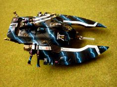 Warhammer 40k Eldar Wave Serpent with awesome lightning paint effects!