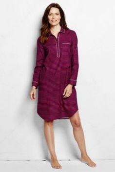 Women's Long Sleeve Print Flannel Nightshirt from Lands' End - cute monogrammed!