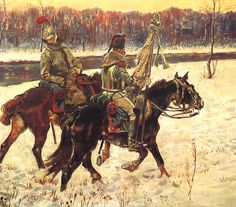 Carabiners and Cuirassier in Russia, by W. Kossak.