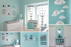 'Ojore's Aqua and Gray Chevron Nursery - Collage wall - elegant decor' I really wouldn't mind having this as my room:) Grey Chevron Nursery, Nursery Neutral, Gray Chevron, Aqua Nursery, Nursery Colours, White Nursery, Tiffany Blue Nursery, Chevron Bathroom, Turquoise Nursery