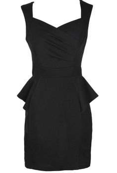 Network The Room Matelasse Peplum Dress in Black  www.lilyboutique.com