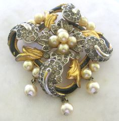 Image detail for -TRIFARI Empress Eugenie Enamel Pearls & Rhinestones Brooch from ...