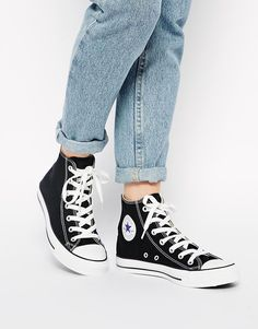 Search for all star converse women at ASOS. Shop from over styles, including all star converse women. Discover the latest women's and men's fashion online Converse All Star, Converse Chucks, Black High Top Converse, Outfits With Converse, Black High Tops, Converse Chuck Taylor All Star, Black Sneakers, Black Chucks, Converse Tumblr