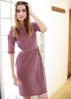 Elsie Check Dress in Bordeaux