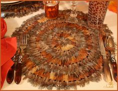 """16"""" real Pheasant feather placemats. Can't get much more fall looking than those."""