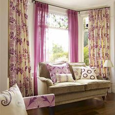 , Sweet Window Curtain Design Ideas Pink Color Soft: 16 beautiful curtains design for living room decoration Blue Curtains Living Room, Pink Curtains, Cool Curtains, Living Room Colors, Living Room Decor, Window Curtains, Patterned Curtains, Bright Curtains, Modern Curtains