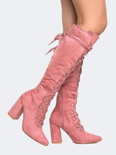 So edgy yet cute! The pink color makes these stand out ~ Lace Up Knee High Boot