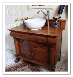 Gorgeous antique washstand with modern sink & tap