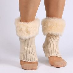 Faux Fur Edge Thicken Knitted Boot Cuffs