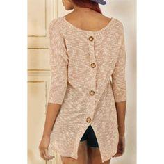 Stylish Scoop Neck 3/4 Sleeve Button Design Slit Women's Knitwear