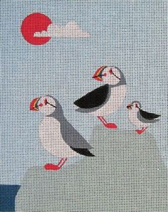Puffin Family needlepoint by artist Anna See. So much fun to try different stitches on.