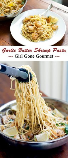 Garlic butter shrimp pasta is easy to make and tastes amazing -- shrimp tossed with a rich butter sauce and pasta? Yes please!
