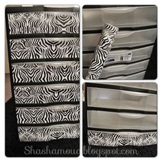 DIY zebra plastic drawers. ..yes please