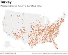 These maps show just how obsessed Americans are with naming things after Thanksgiving food