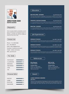 FREE Resume Template PSD (4 Colors) | Resume | Pinterest | Template ...