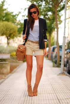 "What a fantastic way to ""couture"" up the uniform of khaki shorts, a striped T and a blue blazer!"