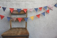 Retro Blue and Orange Pennant Banner Bunting by cocosailore, $36.00