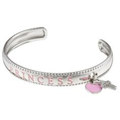 @Overstock - Charming 'princess' engraved bracelet is a precious addition to your child's jewelry collectionSterling silver cuff bracelet offers a lustrous polished finishGive your little princess this pretty pink enamel charm bracelethttp://www.overstock.com/Jewelry-Watches/Sterling-Essentials-Sterling-Silver-6-inch-Adjustable-Princess-Childs-Bracelet/3421592/product.html?CID=214117 CLP              23220.00
