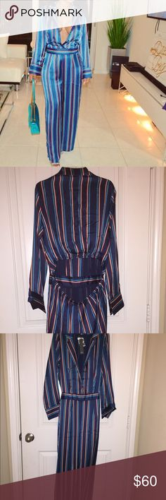 Plunge Multi Colored Jumpsuit Blue Multi Colored Striped open back jumper. New With Tags. Never worn, tried on once. 100% shiny Polyester material with inside lining. Small elastic opening that shows the lower back. No zippers. Can be worn open or buttoned. Other