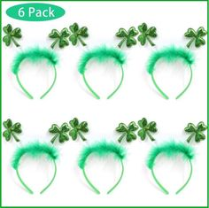 8 Pack St Patricks Day Parade Green Shamrock Clover Party Headbands//Top Hat//Head Boppers Idea for Saint Patricks Accessories and Irish Party Favors Decorations for Adult and Children.