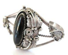 Navajo Sterling Onyx Squash Blossom Cuff Bracelet