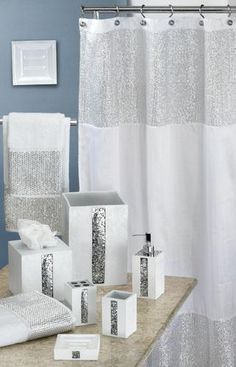 Caprice White Shower Curtain w/ Sequins, super cute for Hay's new downstairs bathroom! Bling Bathroom, Blue Bathroom Decor, Silver Bathroom, Bathroom Shower Curtains, Downstairs Bathroom, Bathroom Stuff, Master Bathroom, Sequin Shower Curtain, Interior Design Living Room