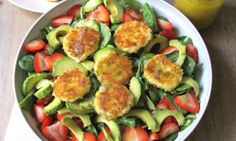 Strawberry and Avocado Salad with Crispy Herbed Goat Cheese Croquettes I SpryLiving.com