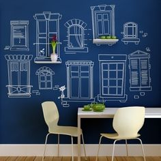 Blue chalkboard paint... love it with the shelves and window sketches.
