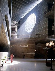 The Jatiyo Sangshad Bhaban designed by Louis Kahn houses all the parliamentary activities of Bangladesh.