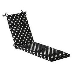Pillow Perfect Outdoor Black/ White Polka Dot Chaise Lounge Cushion