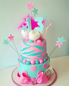 Aqua blue and hot pink 13th birthday party cake
