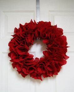 Red Burlap Wreath [DIY]  This would be great for Christmas and Valentine's Day, and easily embellishable for July 4,