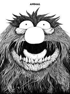 Animal - The Muppets - Randy Ortiz Animal Muppet, Ink Pen Drawings, Art Et Illustration, Jim Henson, Illustrations Posters, Photo Art, Pop Culture, Contemporary Art, Creatures