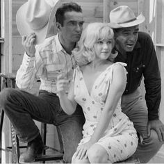 "Marilyn with Monty Clift and Clark Gable pose for a publicity shoot of the film ""The Misfits"". Photographed by Ernst Haas. ~Marilyn was an incredible person to act with...the most marvelous I ever worked with,and I have been working for 29 years.~ Montgomery Clift #marilynmonroe #montgomeryclift #clarkgable #themisfits #vintage #classic #movie #fans #instagramers"