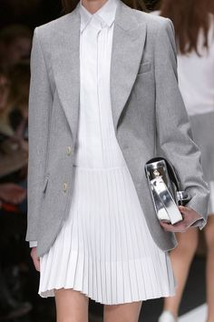 Vanessa Bruno: grey blazer & pleated shirtdress #style #fashion